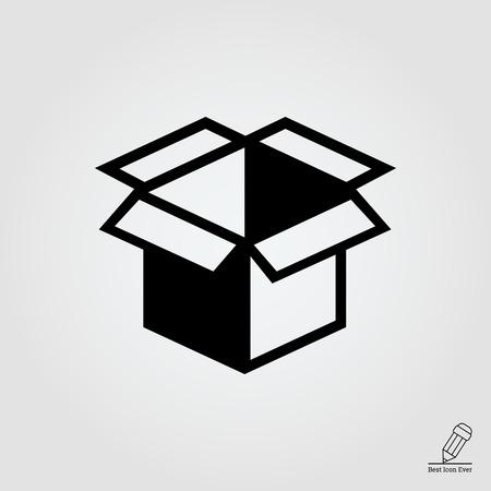 post box: Vector icon of open empty cardboard box