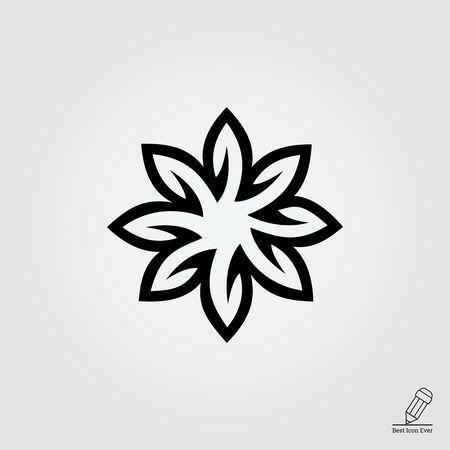 festive: Vector icon of festive Christmas poinsettia blossom