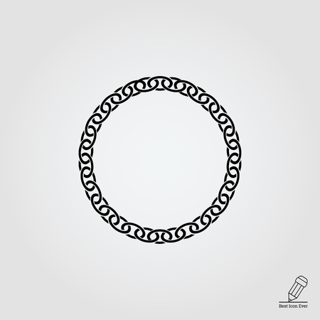 circular chain: Vector icon of round chunky metal chain Illustration