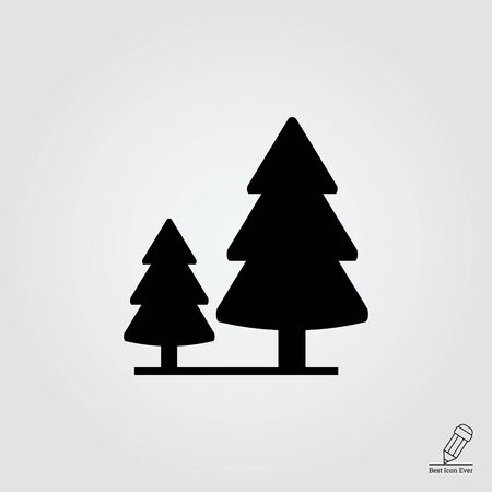 wildlife reserve: Vector icon of wood sign with two fir trees