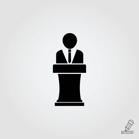 person silhouette: Vector icon of faceless man silhouette speaking in public