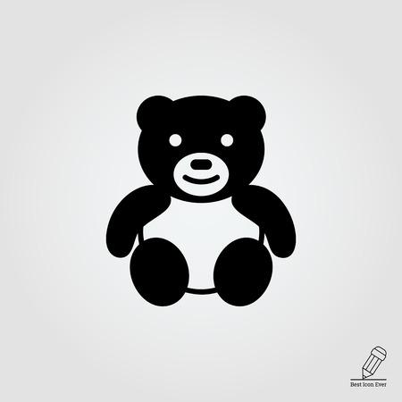 vintage teddy bears: Vector icon of cute teddy bear toy