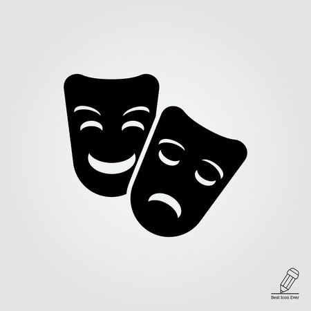 theater masks: Vector icon of comedy and tragedy theater masks