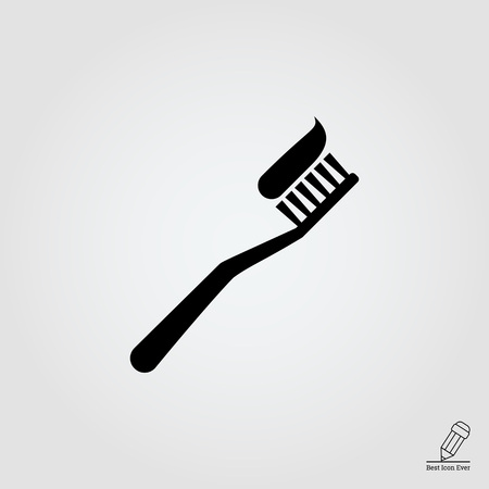 dental health: Vector icon of toothbrush with applied toothpaste portion Illustration