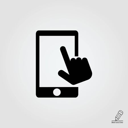 smartphone icon: Vector icon of human hand touching smartphone screen