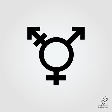 at symbol: Icona di vettore di simbolo transgender che conciliano i simboli di genere