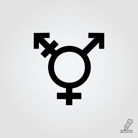 gender symbol: Vector icon of transgender symbol combining gender symbols