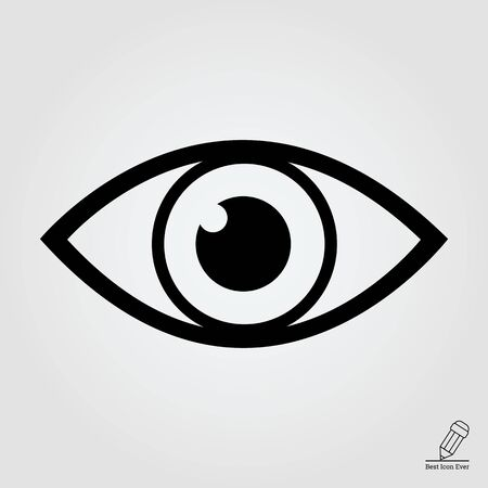 human eye: Vector icon of video monitoring represented by open human eye