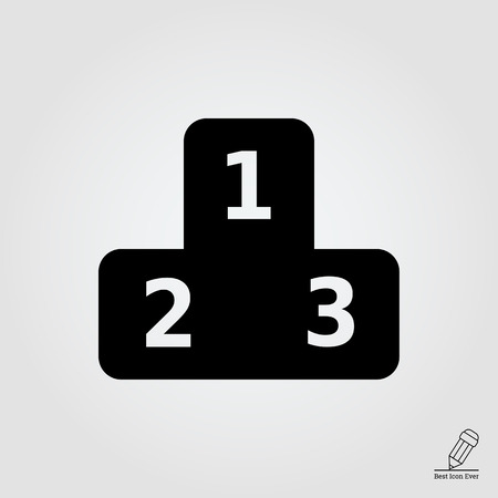 winning first: Vector icon of winners podium with number one, two and three