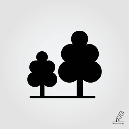 plant tree: Vector icon of wood sign with two trees