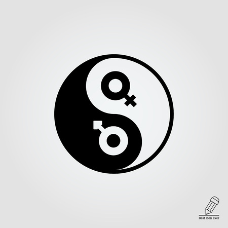 female symbol: Vector icon of yin yang symbol with male and female gender signs