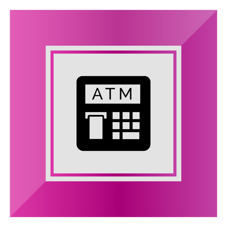receipt: Vector icon of automatic teller machine with receipt