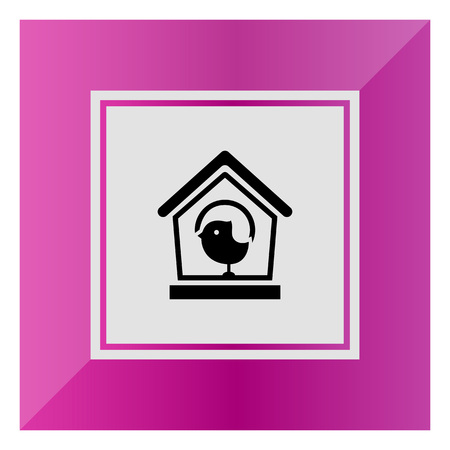 animals feeding: Vector icon of birdhouse and sparrow silhouette