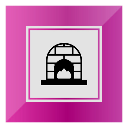 cosy: Vector icon of brick fireplace with flames