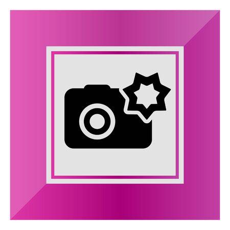 snapshot: Vector icon of snapshot camera with flash Illustration