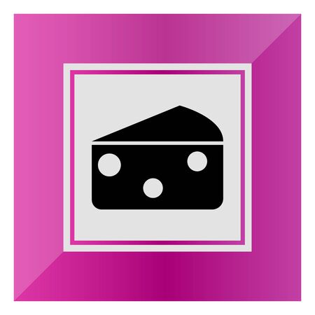 holes: Vector icon of triangle cheese piece with holes