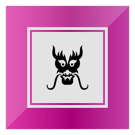 oriental vector: Vector icon of oriental dragon head silhouette Illustration