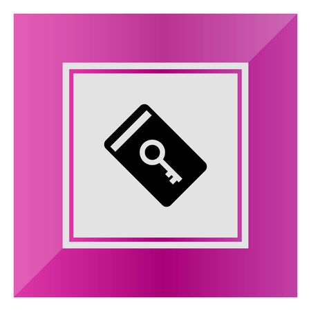 keycard: Vector icon of electronic keycard with key picture