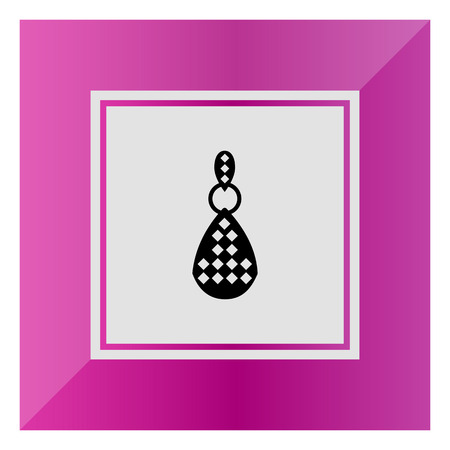 gemstones: Vector icon of one earring with gemstones