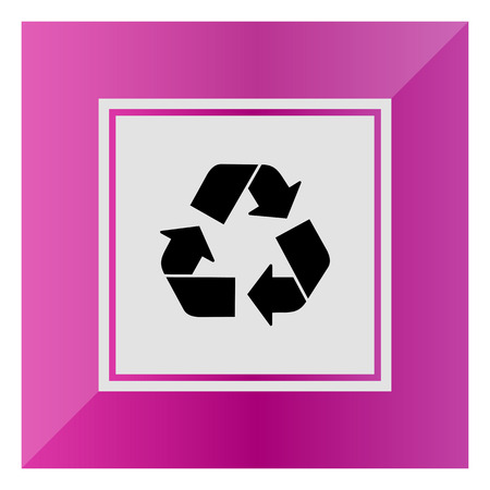 waste recovery: Vector icon of recycling sign represented by triangle made with arrows
