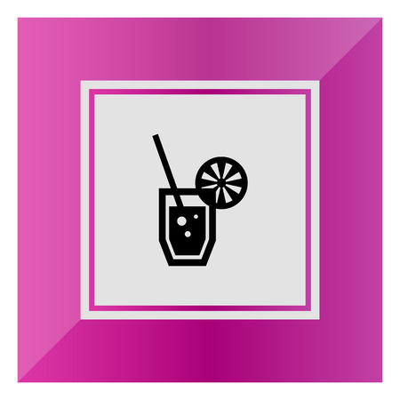 fizz: Vector icon of soda glass with straw