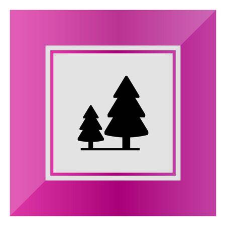 2 つのモミの木と木製看板のベクトルのアイコン 写真素材 - 46863757