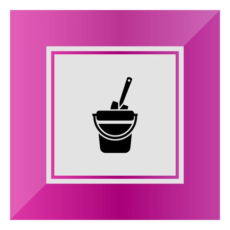 bucket and spade: Vector icon of toy bucket and spade Illustration