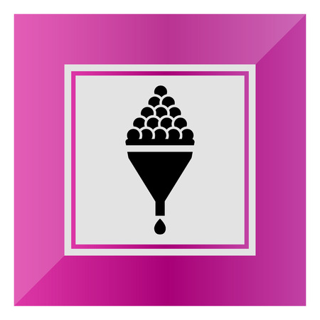 viticulture: Vector icon of wine making sign depicting grape in funnel and wine drop