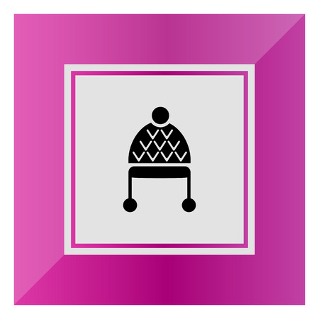 pompon: Vector icon of knitted winter hat with pomons Illustration