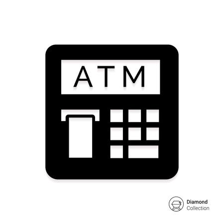 automatic teller machine: Icono del vector del cajero autom�tico con el recibo