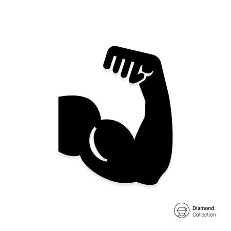 Icono del vector de la silueta del hombre del brazo mostrando músculo bíceps