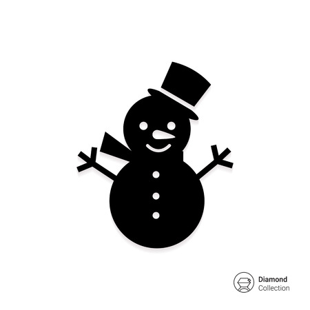 Vector icon of snowman with hat and scarf Illustration