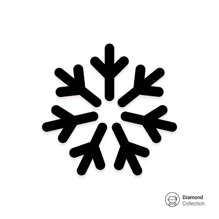 cold air: Vector icon of cold sign depicting snowflake Stock Photo