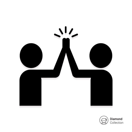 group of hands: Vector icon of two men silhouettes giving high five Illustration