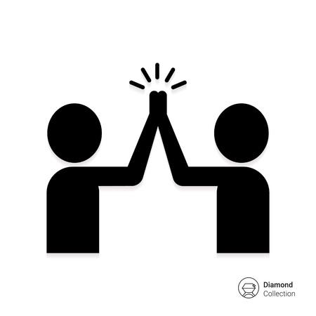 Vector icoon van de twee mannen silhouetten geven high five