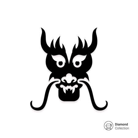 cabeza de dragon: Icono del vector del drag�n oriental cabeza silueta Vectores