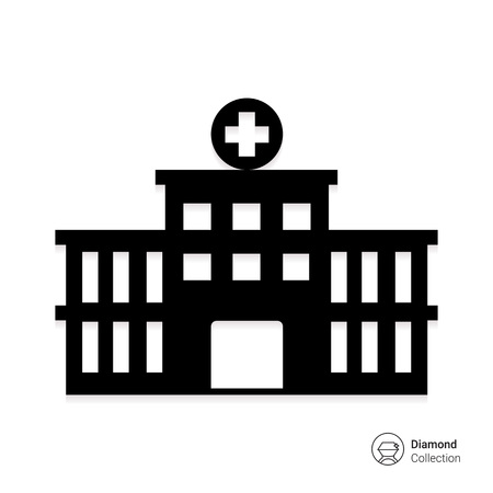 Vector icon of hospital building front silhouette