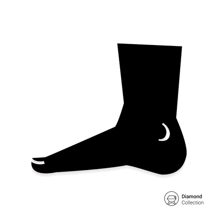 podiatry: Vector icon of human foot silhouette, side view Illustration