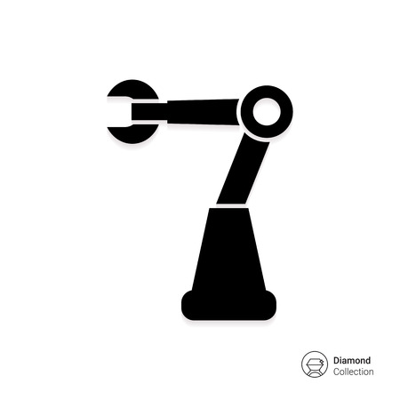 cybernetics: Vector icon of industrial robot with mechanical hand Illustration