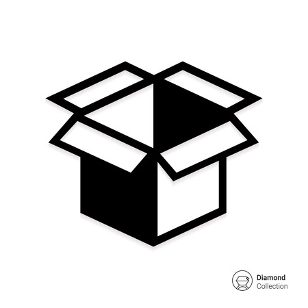 open box: Vector icon of open empty cardboard box