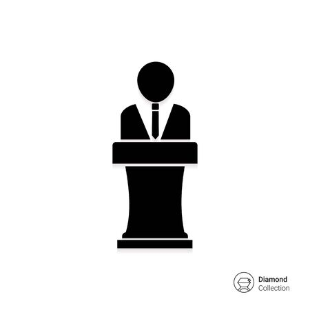 faceless: Vector icon of faceless man silhouette speaking in public