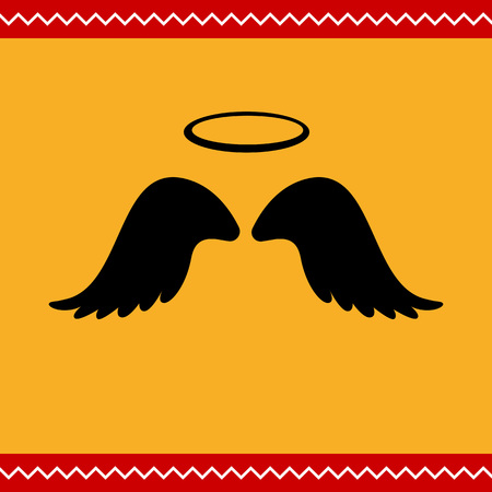 heavenly angel: Vector icon of angel wings with halo