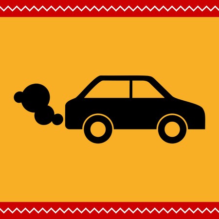 fume: Vector icon of car emitting exhaust fumes Illustration