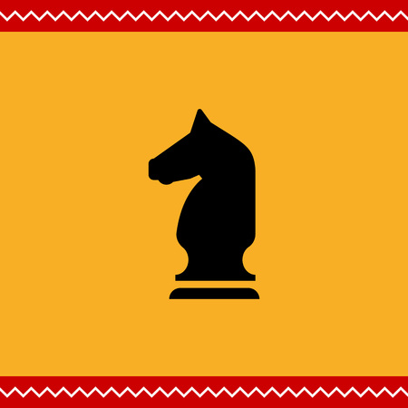 chess knight: Vector icon of black chess knight silhouette