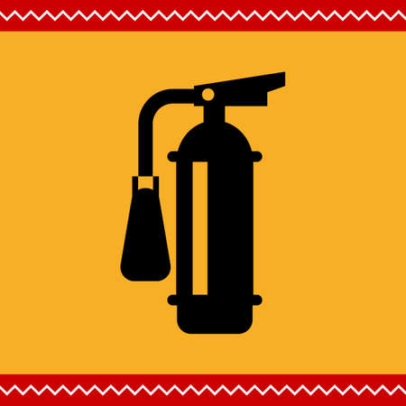 flammable warning: Vector icon of black fire extinguisher silhouette Illustration