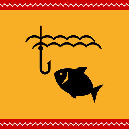 Vector icon of fish swimming in water and fish hook
