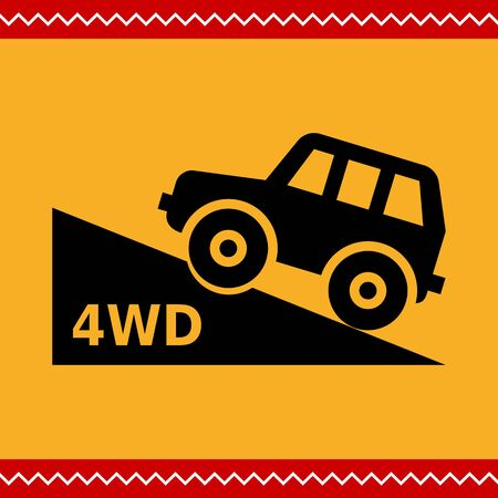 4wd: Vector icon of four wheel drive car moving up hill Illustration