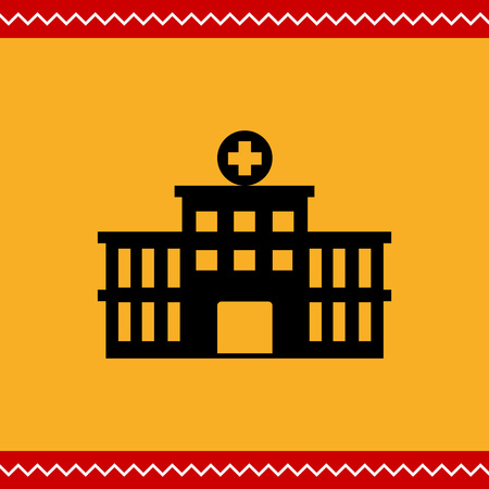 front porch: Vector icon of hospital building front silhouette