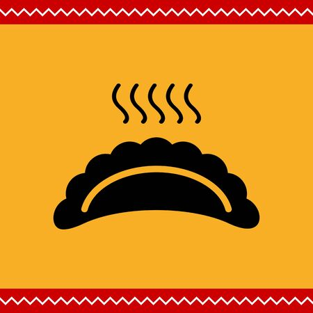 russian cuisine: Vector icon of hot ravioli with steam
