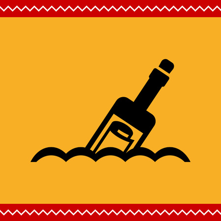 castaway: Vector icon of scroll message in bottle floating on waves